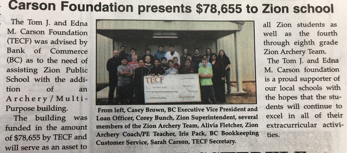 Tom J. and Edna M. Carson Foundation supports Zion School