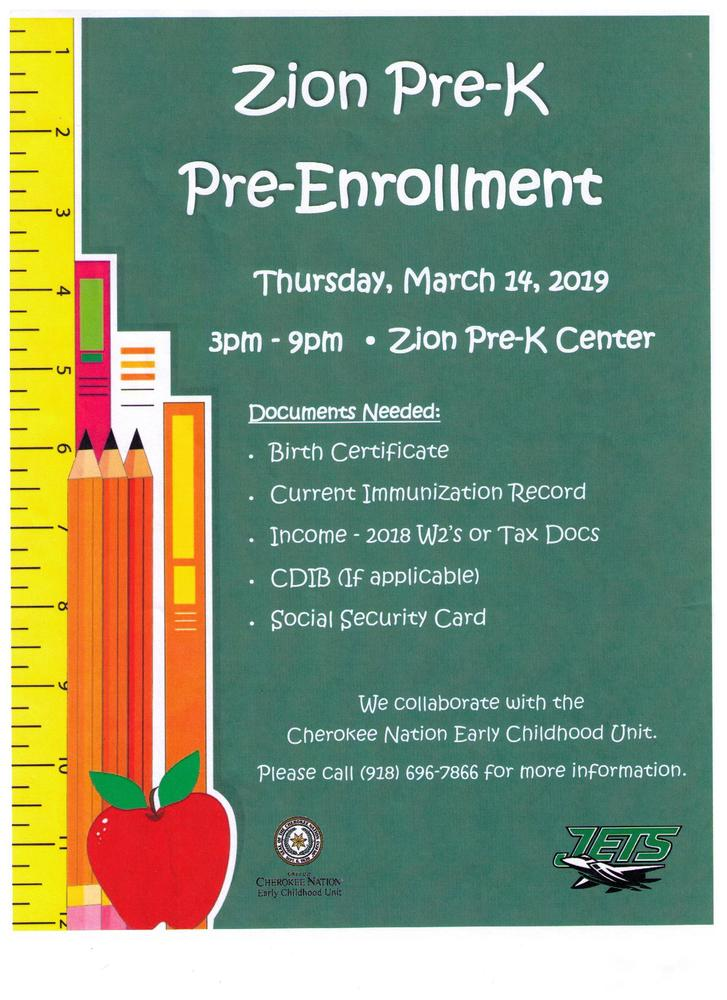 Zion Pre-K Pre-Enrollment - March 14, 2019
