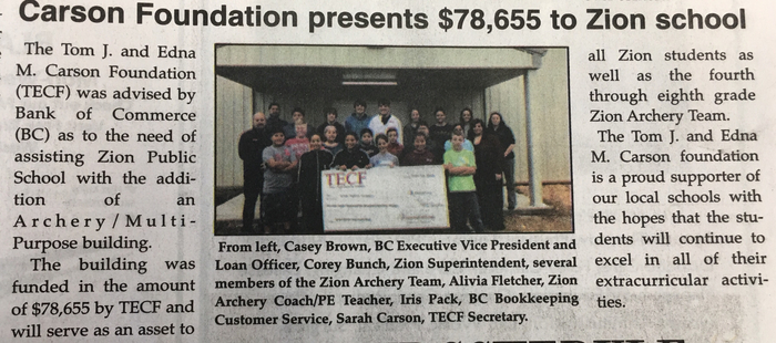 Carson Foundation donates to Zion School.