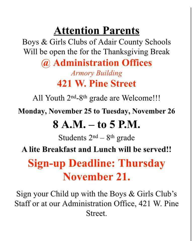 Attention 2nd - 8th Grade Parents