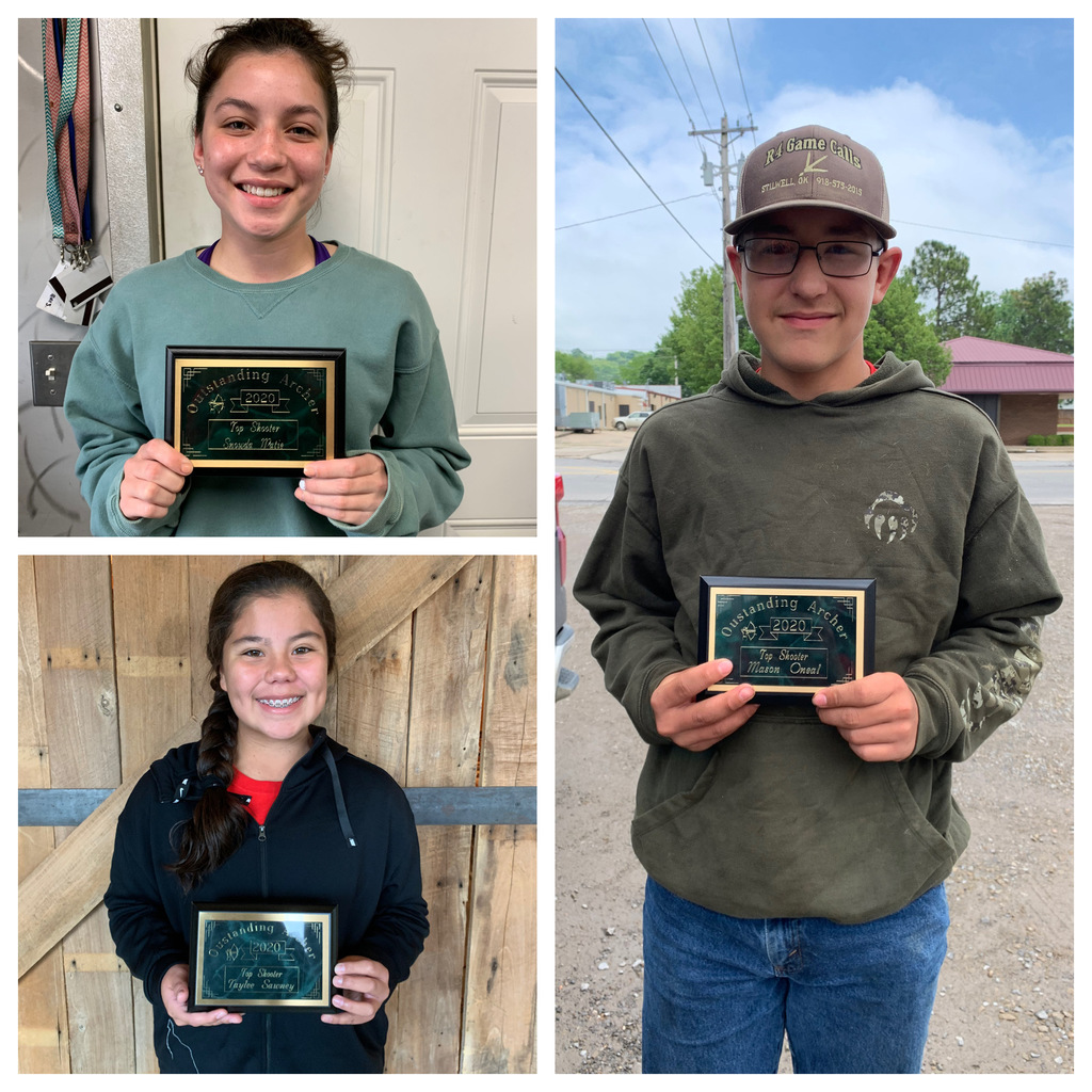 I would like to recognize my top shooters for this school year, Snowda Watie, Taylee Sawney, Mason Oneal, and not pictured Colby Philpot! Congrats guys!!